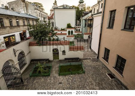 Zamosc - Renaissance city in Central Europe. Backyard in Old Town.