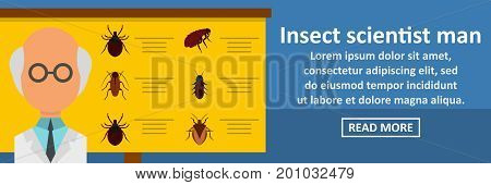 Insect scientist man banner horizontal concept. Flat illustration of insect scientist man banner horizontal vector concept for web