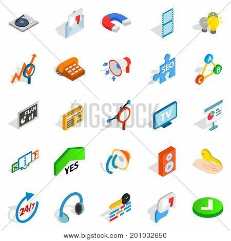 FAQ icons set. Isometric set of 25 faq vector icons for web isolated on white background