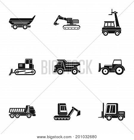 Building heavy vehicle icon set. Simple set of 9 building heavy vehicle vector icons for web isolated on white background