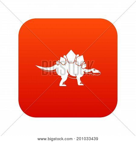 Stegosaurus dinosaur icon digital red for any design isolated on white vector illustration