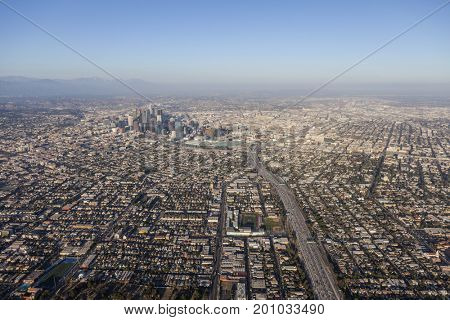 Aerial view of the Santa Monica 10 Freeway heading east towards downtown Los Angeles in Southern California.