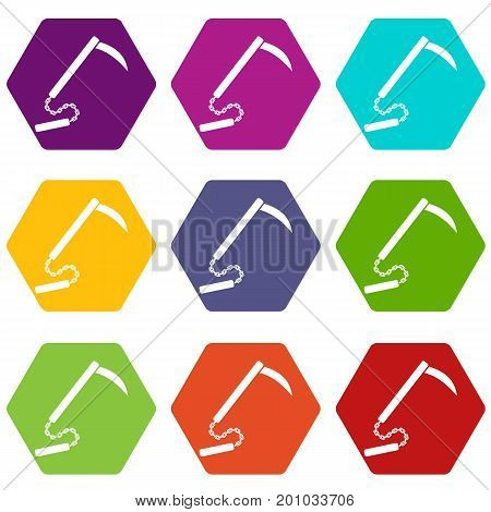 Kusarigama icon set many color hexahedron isolated on white vector illustration