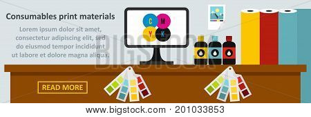 Consumables print materials banner horizontal concept. Flat illustration of consumables print materials banner horizontal vector concept for web