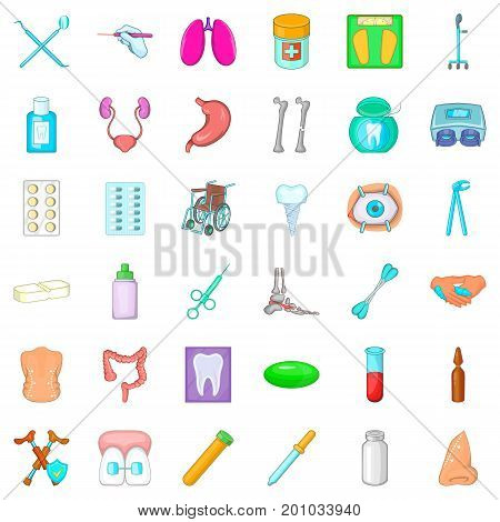Sickness icons set. Cartoon style of 36 sickness vector icons for web isolated on white background