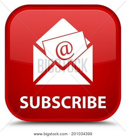 Subscribe (newsletter Email Icon) Special Red Square Button