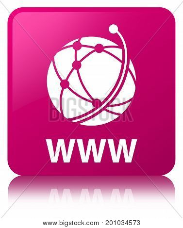 Www (global Network Icon) Pink Square Button