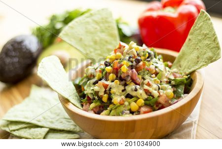 Mexican salad with cashew based garlic sauce