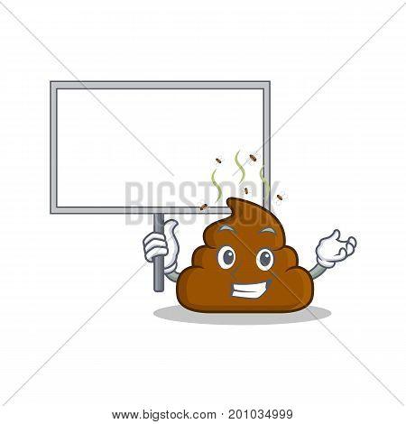 Bring board Poop emoticon character cartoon vector illustration