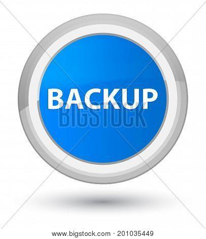 Backup Prime Cyan Blue Round Button