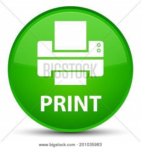 Print (printer Icon) Special Green Round Button