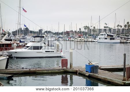 Recreational and fishing boats at the dock in Oxnard marina Ventura county Southern California Pacific coast; copy space