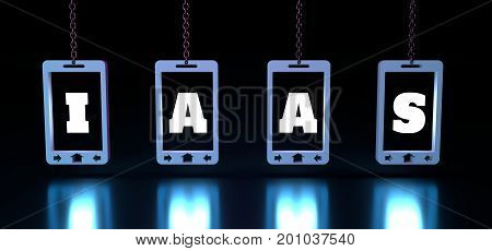 PaaS - infrastructure as a service, word illustration for business concept. Design in modern style with related icons concept for ui, ux, web, app banner. Phones hanging from a chain. 3D rendering.