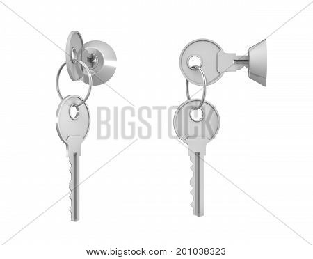 3d rendering of 2 keylocks with keys in side view and 45 degrees view with one key hanging below. Safekeeping. Security. Locking up.