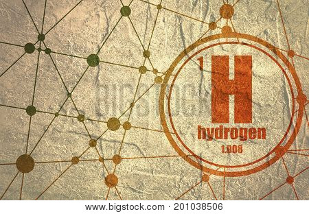 Hydrogen chemical element. Sign with atomic number and atomic weight. Chemical element of periodic table. Molecule And Communication Background. Connected lines with dots.