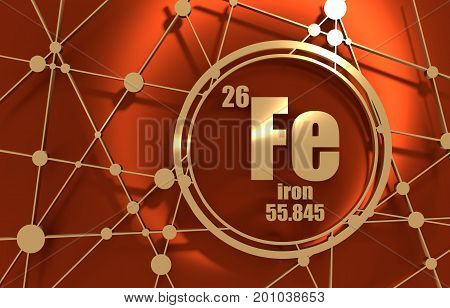 Iron chemical element. Sign with atomic number and atomic weight. Chemical element of periodic table. Molecule And Communication Background. Connected lines with dots. 3D rendering.