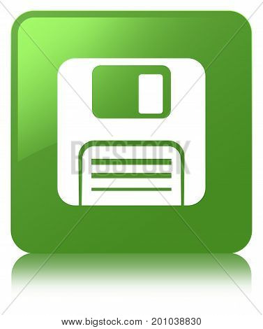 Floppy Disk Icon Soft Green Square Button