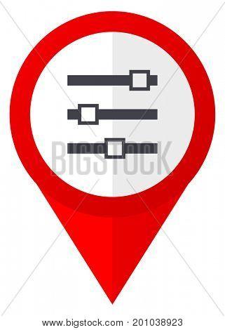 Slider red web pointer icon. Webdesign button on white background.