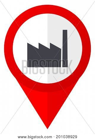Factory red web pointer icon. Webdesign button on white background.