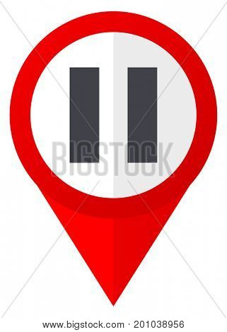 Pause red web pointer icon. Webdesign button on white background.