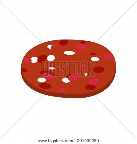 Piece of sausage isolated. Slice of salami on white background