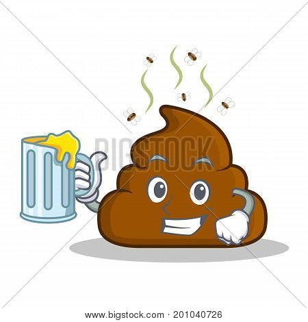 With juice Poop emoticon character cartoon vector illustration