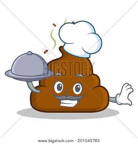 Chef with food Poop emoticon character cartoon vector illustration