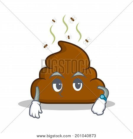 Waiting Poop emoticon character cartoon vector illustration