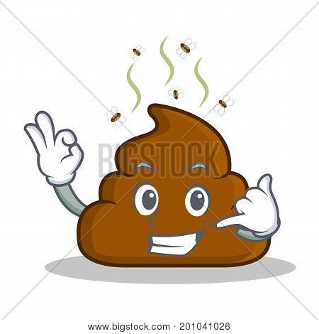Call me Poop emoticon character cartoon vector illustration