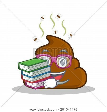 Student with book Poop emoticon character cartoon vector illustration