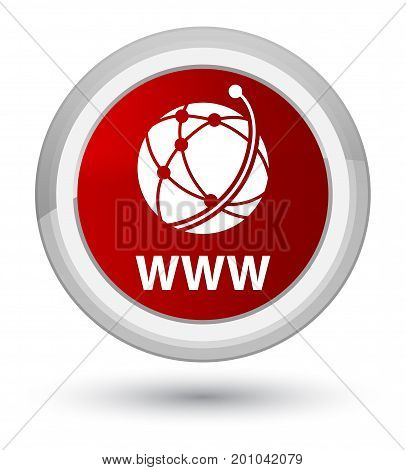 Www (global Network Icon) Prime Red Round Button