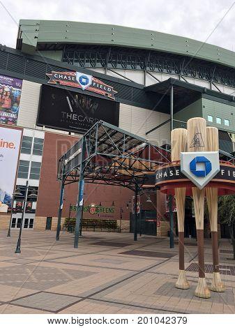 PHOENIX AZ USA - AUGUST 2 2017: Arizona Diamondbacks home stadium in Phoenix downtown Chase Field.