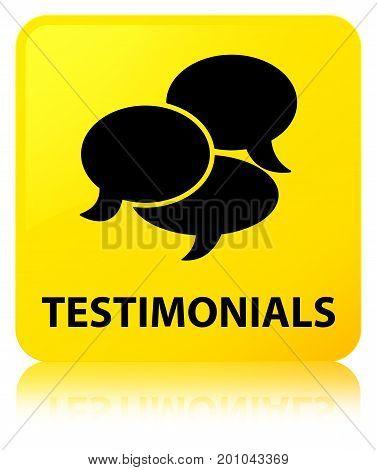 Testimonials (comments Icon) Yellow Square Button