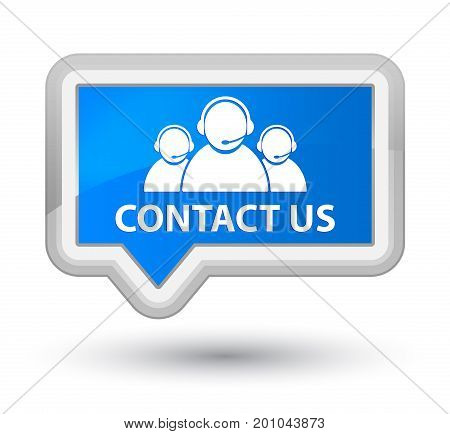 Contact Us (customer Care Team Icon) Prime Cyan Blue Banner Button