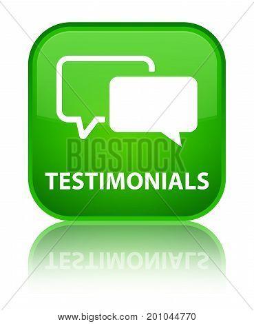 Testimonials Special Green Square Button
