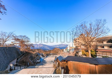Ikaho Onsen on autumn is a hot spring town located on the eastern slopes of Mount Haruna famous place of Gunma PrefectureJapan.