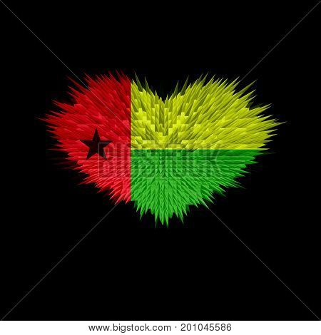The Heart of Guinea-Bissau Flag abstract background.