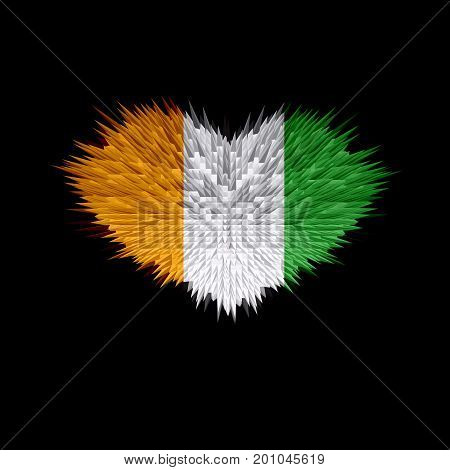 The Heart of Côte d'Ivoire Flag abstract background.