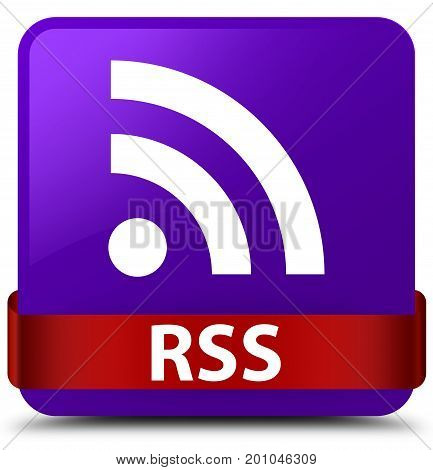Rss Purple Square Button Red Ribbon In Middle