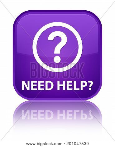 Need Help (question Icon) Special Purple Square Button