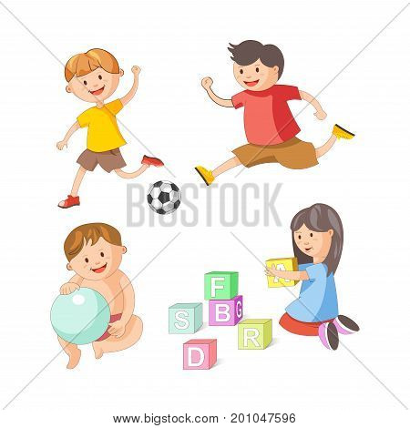 Children playing toys and games. Young girl child with alphabet blocks, boys play football with soccer ball or toddler baby child with balloon. Vector people childhood isolated flat icons set