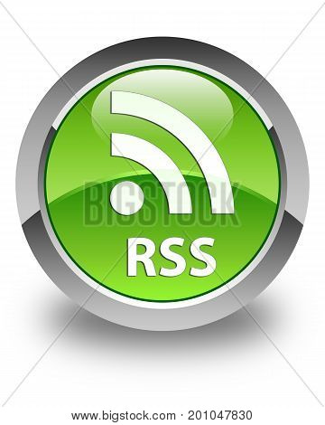Rss Glossy Green Round Button