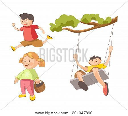 Children playing outdoor games. Young boy swinging on tree swing or running with smile, girl child with wicker basket. Vector isolated flat icons set of people childhood