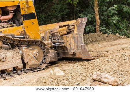 Excavator Backhoe Loader Heavy Equipment Vehicle On Duty Building Road