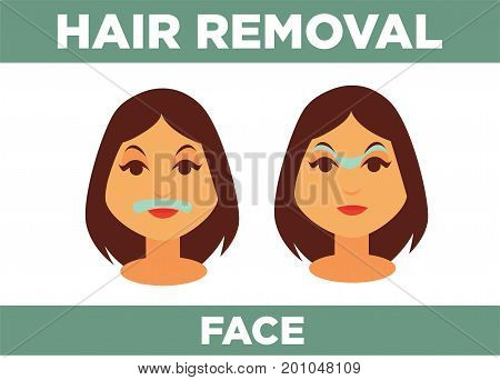 Hair removal from face with help of special cosmetical means promotional poster with womans head isolated cartoon vector illustration on white background. Female beauty procedures advertisement.