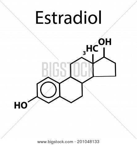 Chemical molecular formula of the hormone Estradiol. Female sex hormone. Infographics. Vector illustration.
