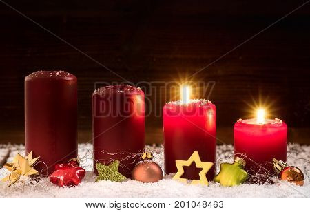 Candles for the second advent christsmas .