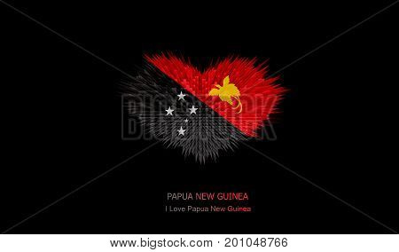 The Heart of Papua New Guinea Flag abstract background.