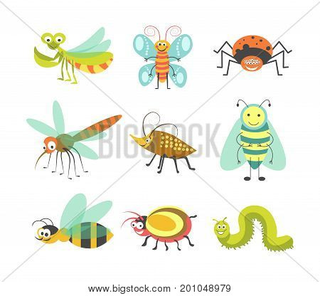 Cartoon insects and funny bugs of smiling mantis, butterfly or spider and mosquito or dragonfly, beetle or bumblebee and bee wasp or caterpillar for kid design element. Vector isolated character icons