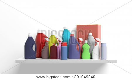 Group of cleaning products packages on white background. 3d illustration